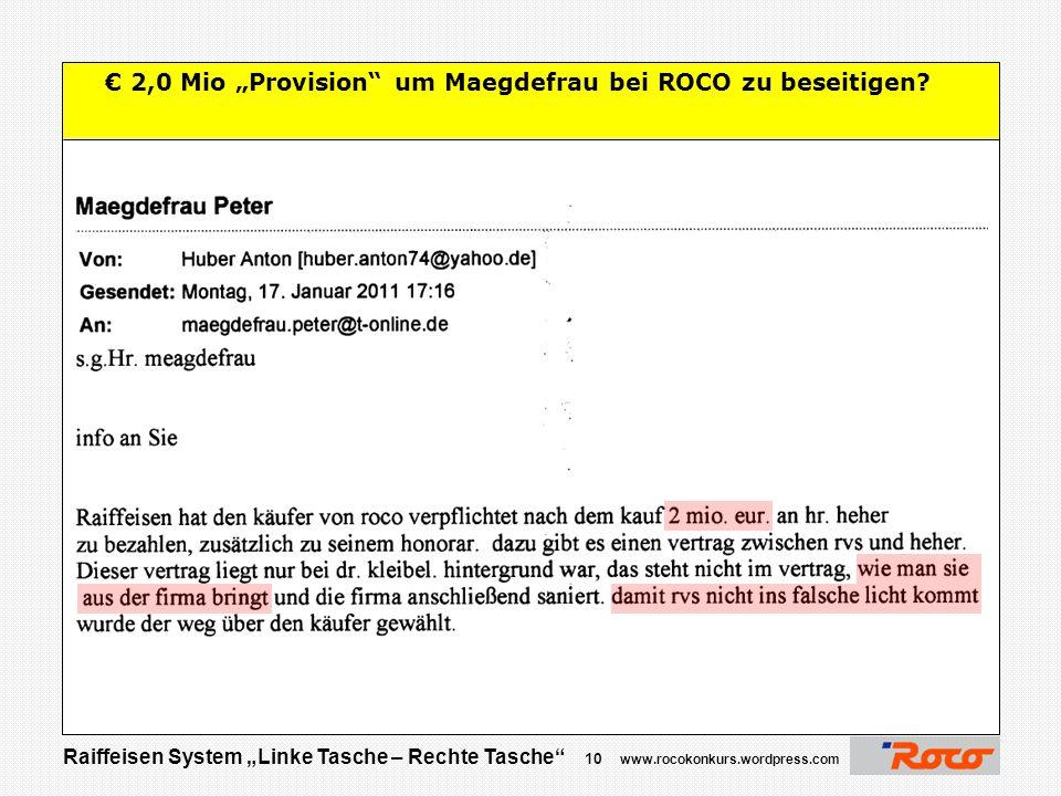 """€ 2,0 Mio """"Provision um Maegdefrau bei ROCO zu beseitigen"""