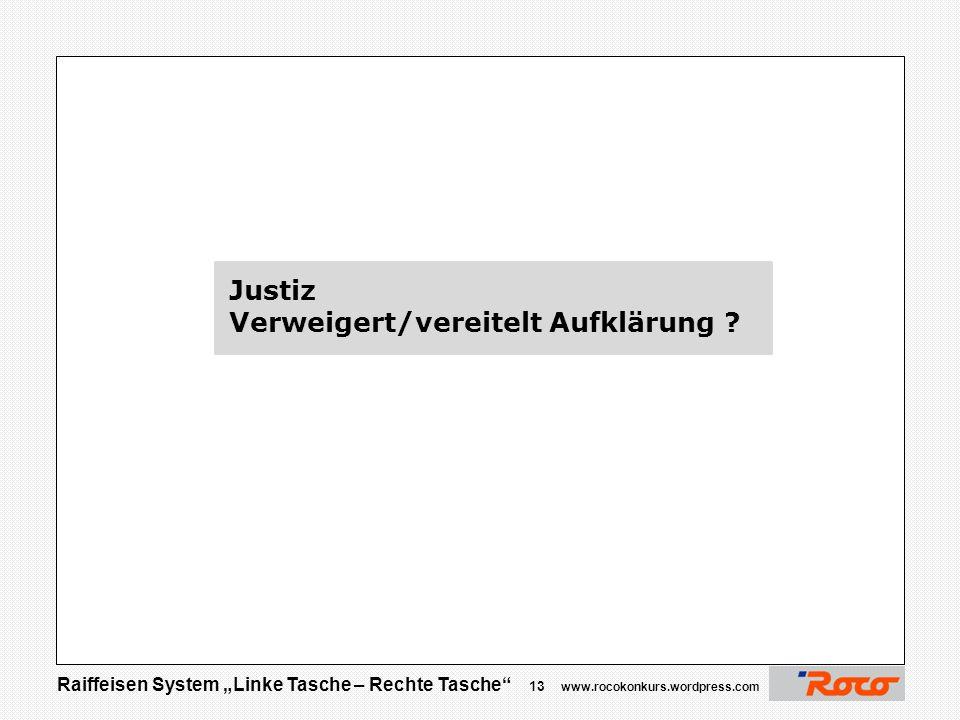 Justiz Verweigert/vereitelt Aufklärung