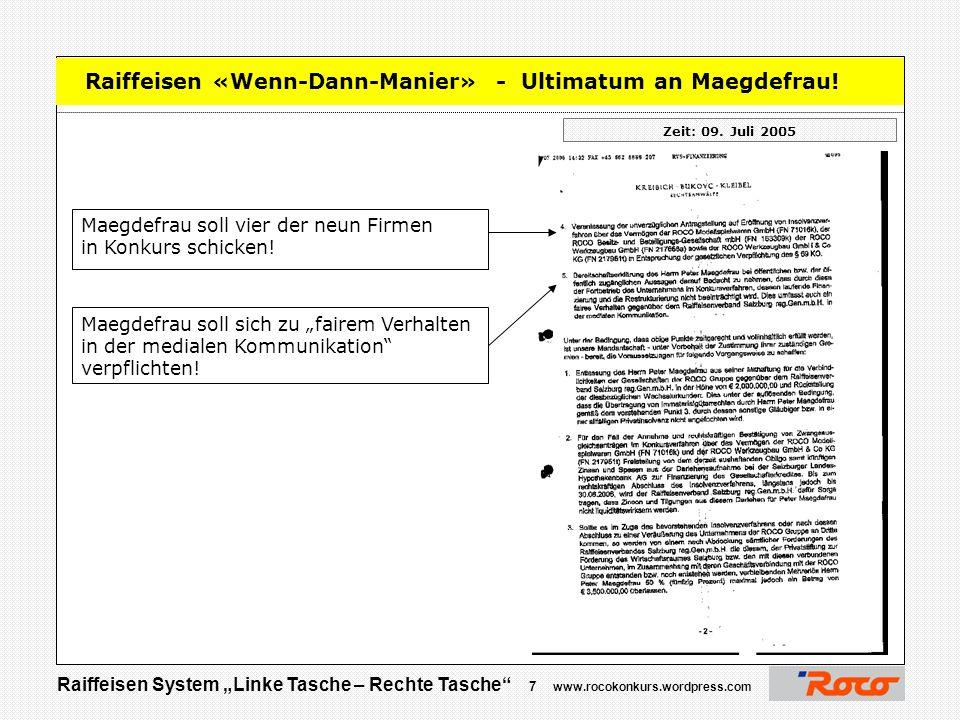 Raiffeisen «Wenn-Dann-Manier» - Ultimatum an Maegdefrau!