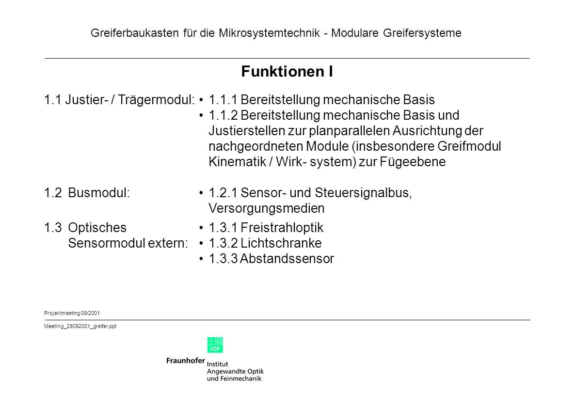 Funktionen I 1.1 Justier- / Trägermodul: