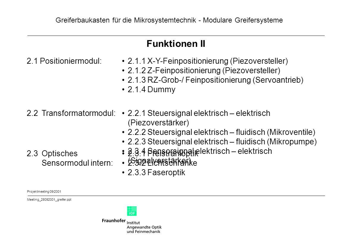 Funktionen II 2.1 Positioniermodul: