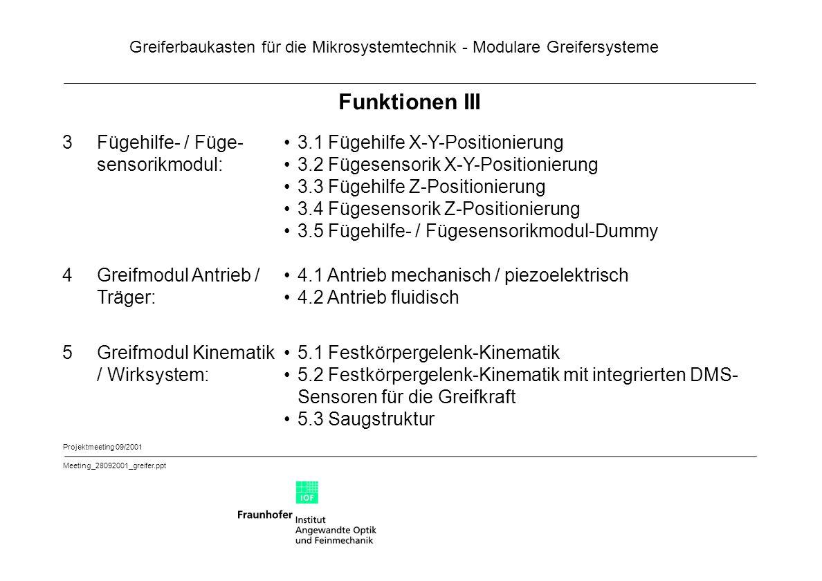 Funktionen III 3 Fügehilfe- / Füge- sensorikmodul: