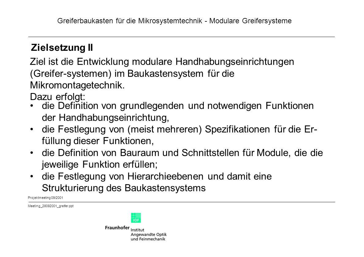 Zielsetzung II Ziel ist die Entwicklung modulare Handhabungseinrichtungen (Greifer-systemen) im Baukastensystem für die Mikromontagetechnik.