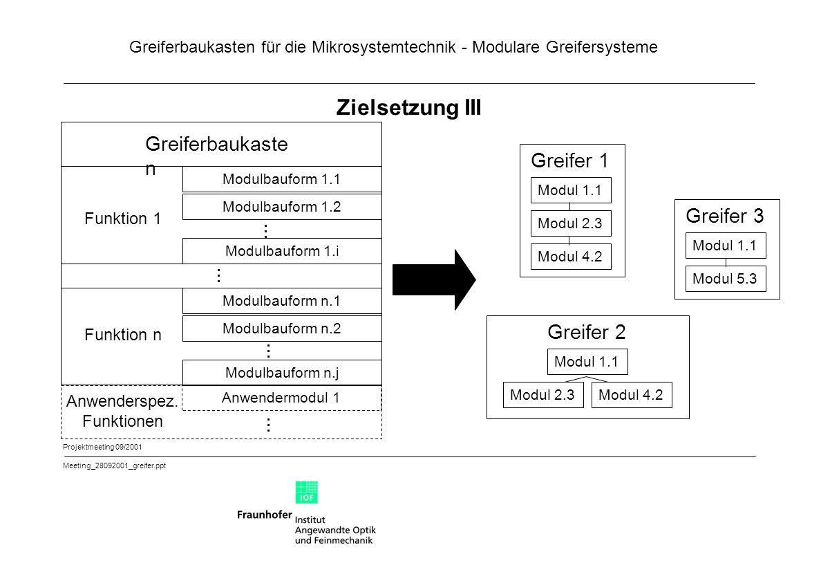 Zielsetzung III Greiferbaukasten Greifer 1 Greifer 3 ... ... Greifer 2