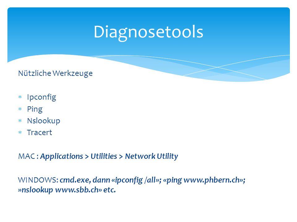 Diagnosetools Nützliche Werkzeuge Ipconfig Ping Nslookup Tracert