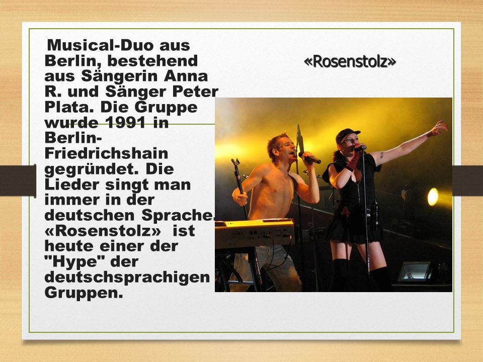 Musical-Duo aus Berlin, bestehend aus Sängerin Anna R