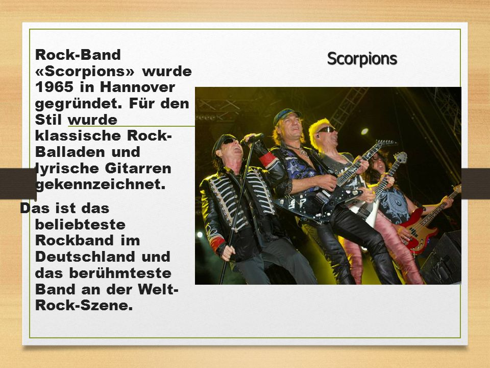 Rock-Band «Scorpions» wurde 1965 in Hannover gegründet