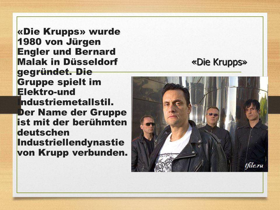 «Die Krupps» wurde 1980 von Jürgen Engler und Bernard Malak in Düsseldorf gegründet. Die Gruppe spielt im Elektro-und Industriemetallstil. Der Name der Gruppe ist mit der berühmten deutschen Industriellendynastie von Krupp verbunden.