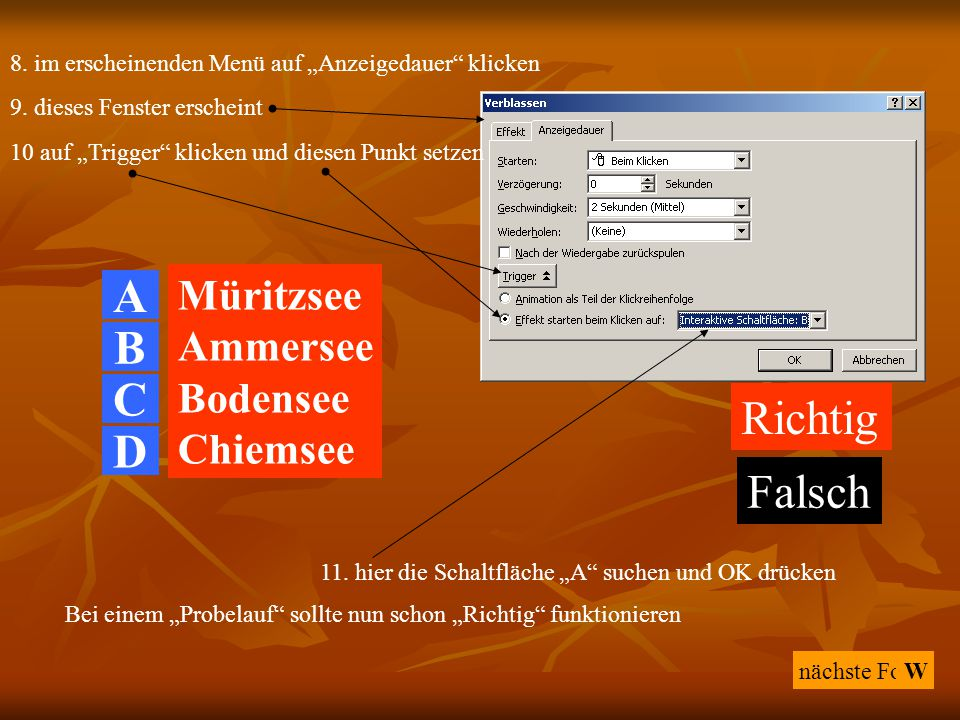 A B C Richtig D Falsch Müritzsee Ammersee Bodensee Chiemsee