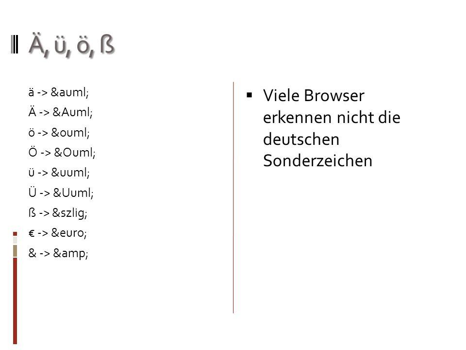 Ä, ü, ö, ß Viele Browser erkennen nicht die deutschen Sonderzeichen