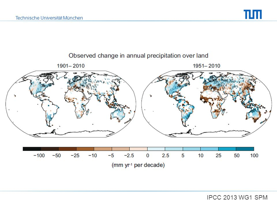 Figure SPM.2 | Maps of observed precipitation change from 1901 to 2010 and from 1951 to 2010 (trends in annual accumulation calculated using the same criteria as in Figure SPM.1) from one data set.