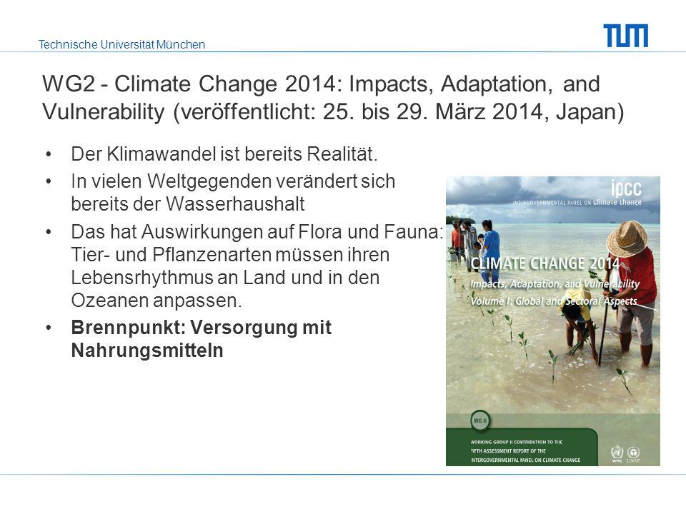 WG2 - Climate Change 2014: Impacts, Adaptation, and Vulnerability (veröffentlicht: 25. bis 29. März 2014, Japan)