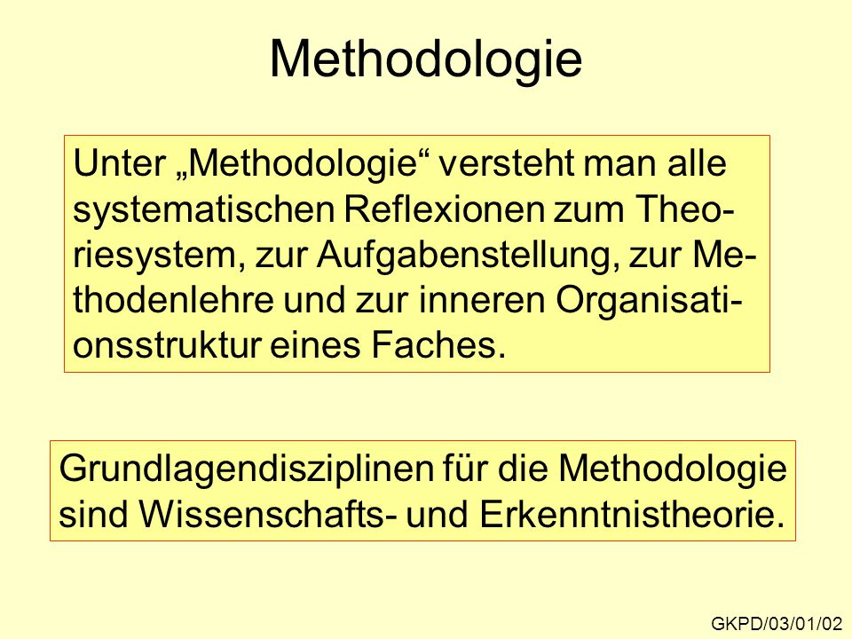 """Methodologie Unter """"Methodologie versteht man alle"""