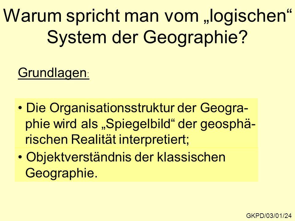 """Warum spricht man vom """"logischen System der Geographie"""