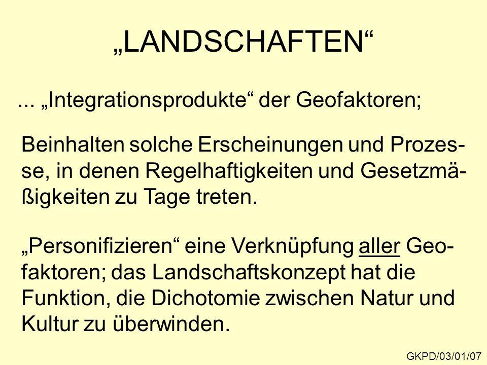 """""""LANDSCHAFTEN ... """"Integrationsprodukte der Geofaktoren;"""