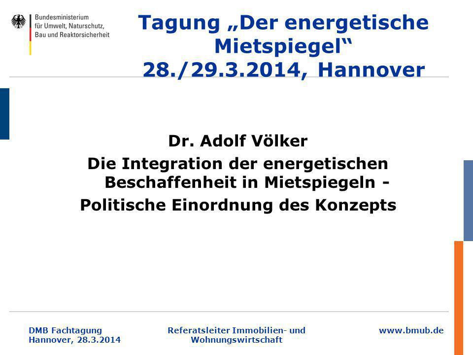 """Tagung """"Der energetische Mietspiegel 28./29.3.2014, Hannover"""