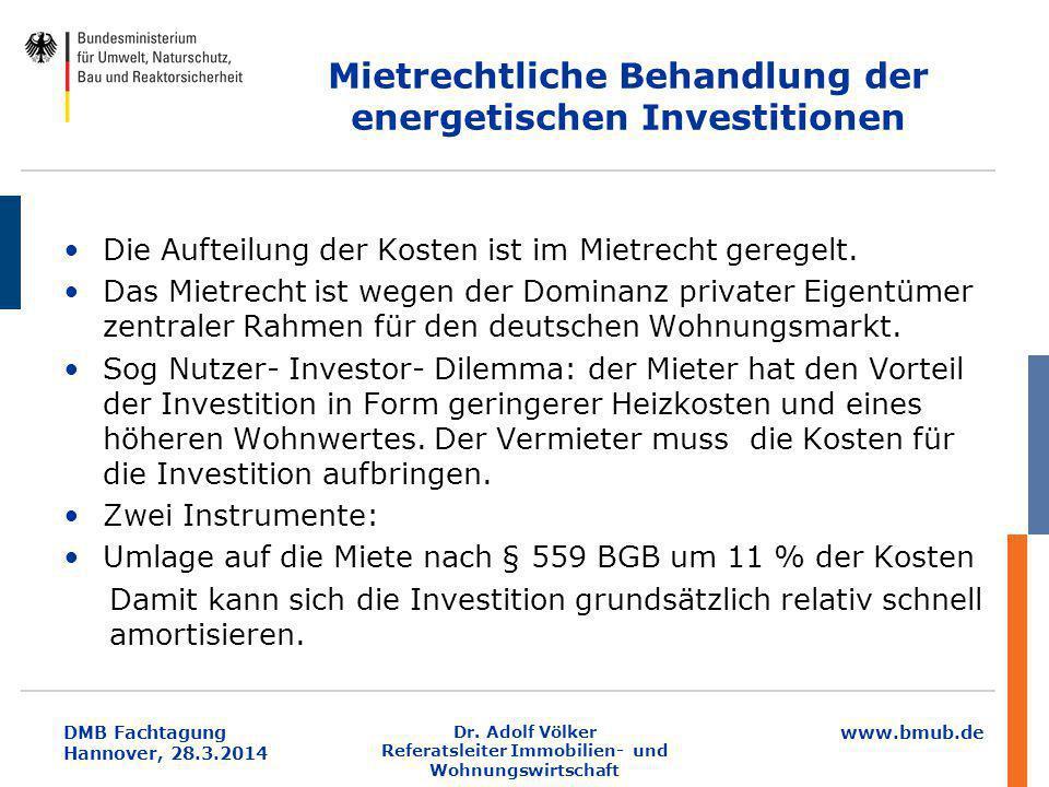 Mietrechtliche Behandlung der energetischen Investitionen