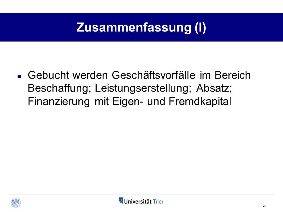 Zusammenfassung (I) Gebucht werden Geschäftsvorfälle im Bereich Beschaffung; Leistungserstellung; Absatz; Finanzierung mit Eigen- und Fremdkapital.