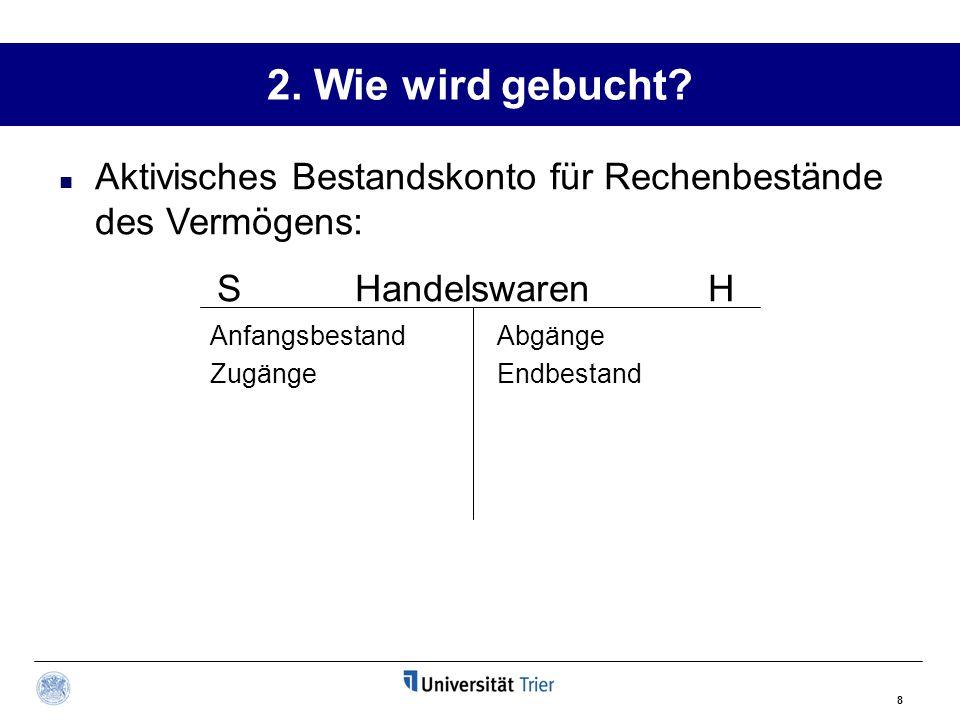 2. Wie wird gebucht Aktivisches Bestandskonto für Rechenbestände des Vermögens: S Handelswaren H.
