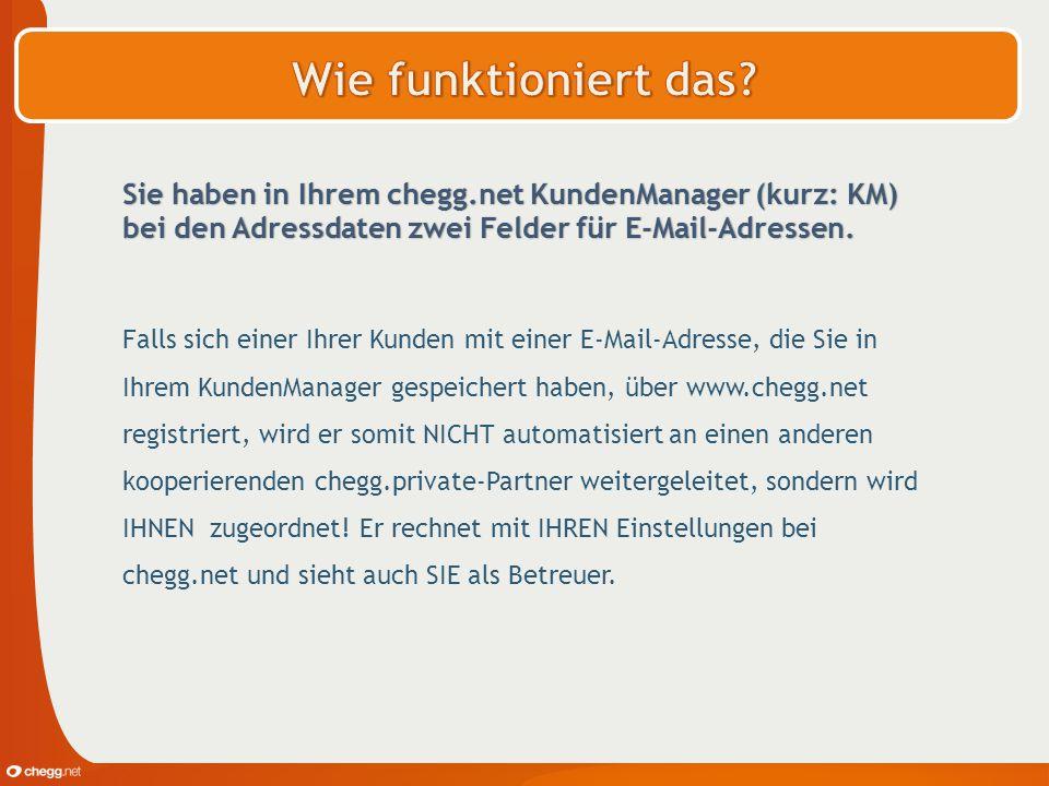 Wie funktioniert das Sie haben in Ihrem chegg.net KundenManager (kurz: KM) bei den Adressdaten zwei Felder für E-Mail-Adressen.
