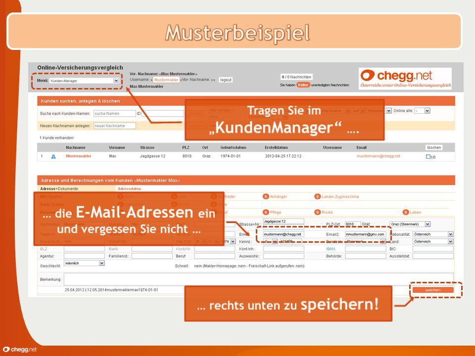 """Musterbeispiel Tragen Sie im """"KundenManager …."""
