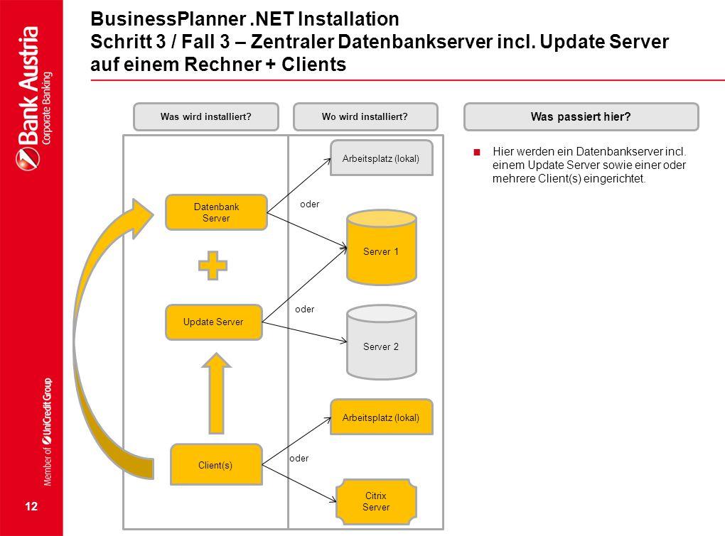 BusinessPlanner .NET Installation Schritt 3 / Fall 3 – Zentraler Datenbankserver incl. Update Server auf einem Rechner + Clients