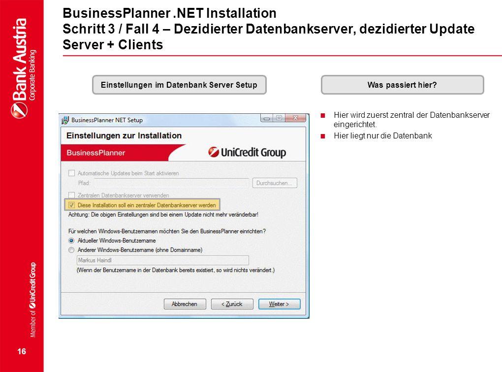 Einstellungen im Datenbank Server Setup