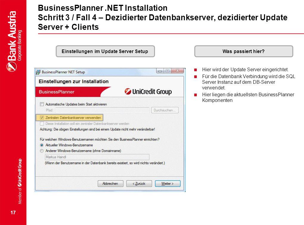 Einstellungen im Update Server Setup