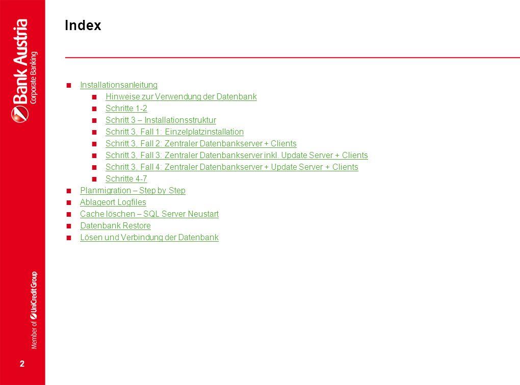 Index Installationsanleitung Hinweise zur Verwendung der Datenbank