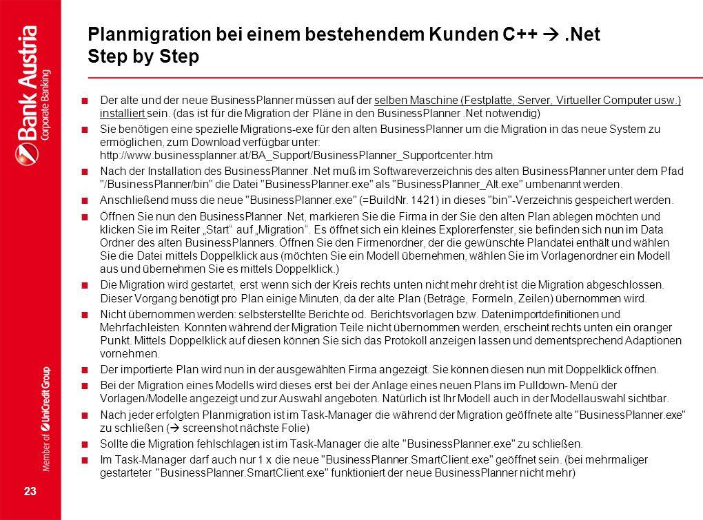 Planmigration bei einem bestehendem Kunden C++  .Net Step by Step