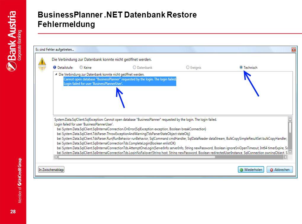 BusinessPlanner .NET Datenbank Restore Fehlermeldung