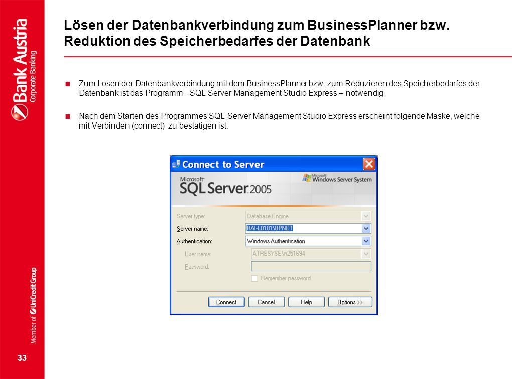 Lösen der Datenbankverbindung zum BusinessPlanner bzw