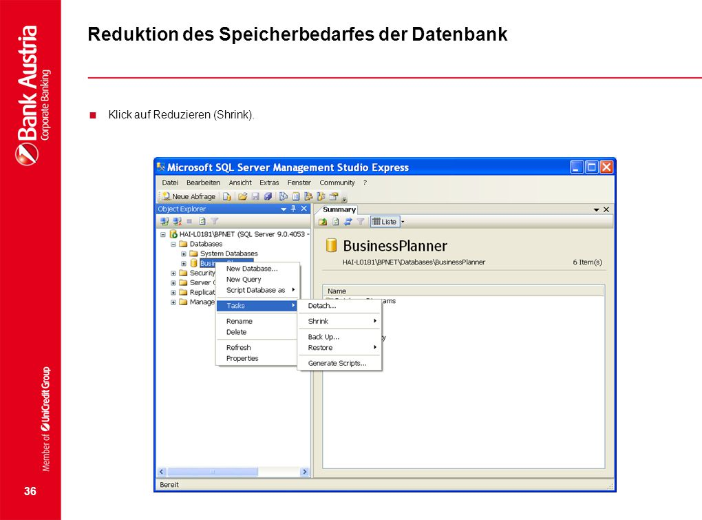 Reduktion des Speicherbedarfes der Datenbank