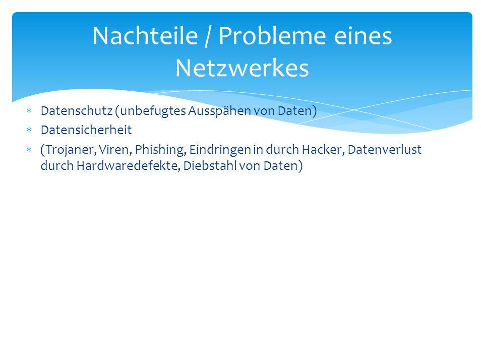 Nachteile / Probleme eines Netzwerkes
