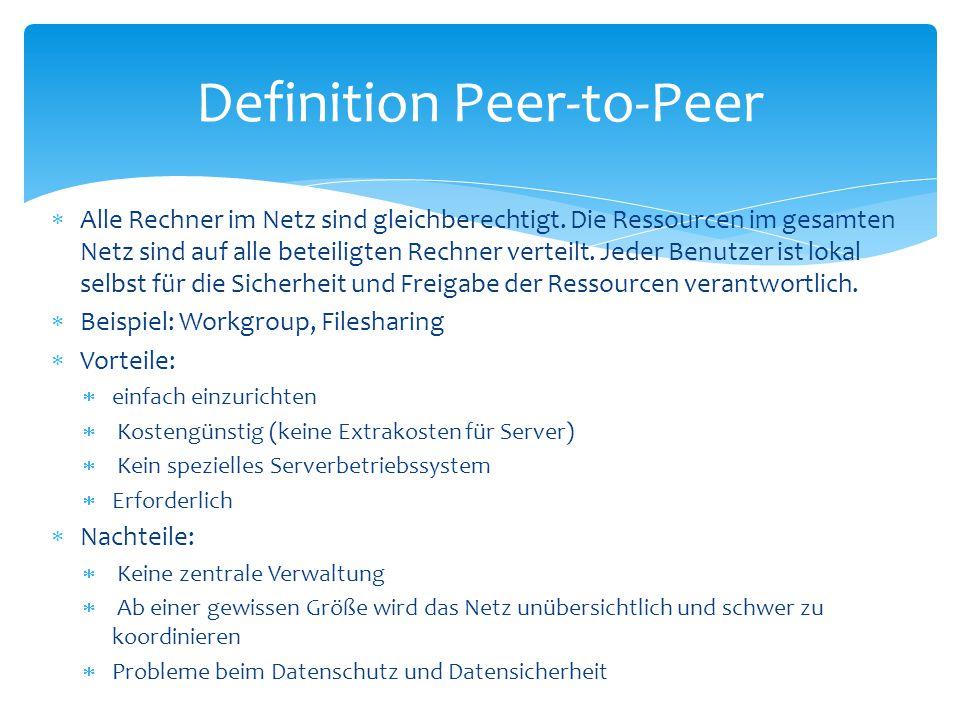 Definition Peer-to-Peer