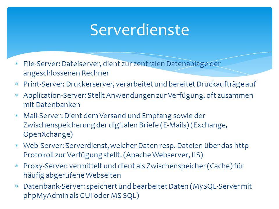 Serverdienste File-Server: Dateiserver, dient zur zentralen Datenablage der angeschlossenen Rechner.