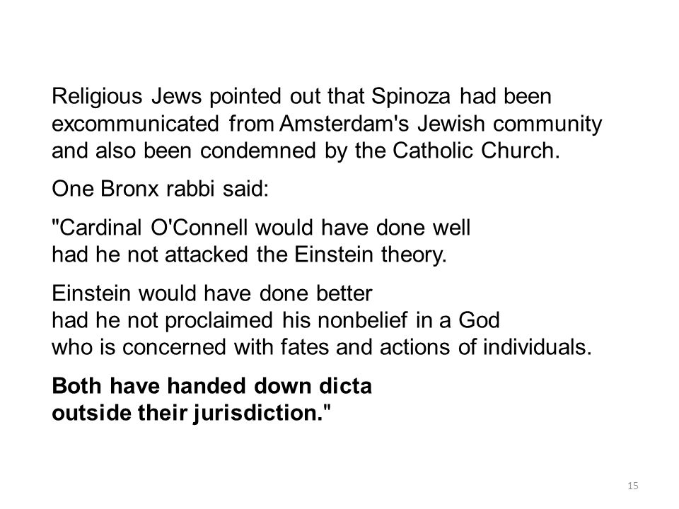 Religious Jews pointed out that Spinoza had been excommunicated from Amsterdam s Jewish community and also been condemned by the Catholic Church.