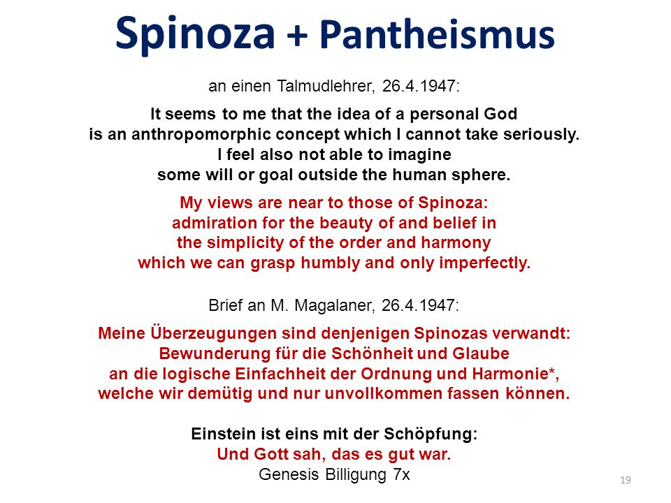 Spinoza + Pantheismus
