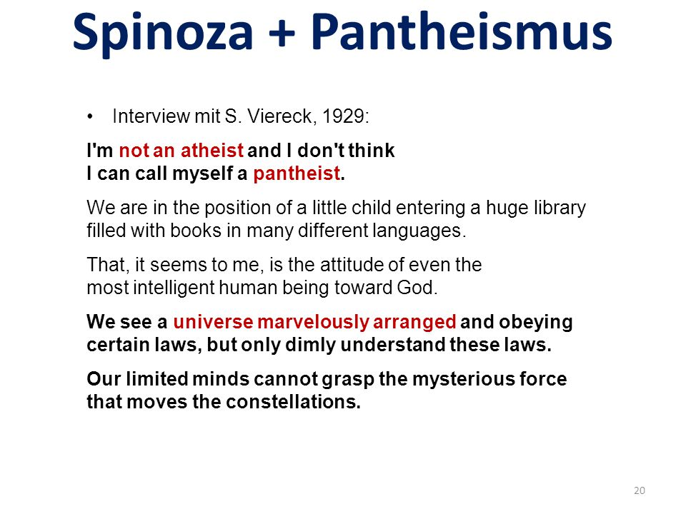 Spinoza + Pantheismus Interview mit S. Viereck, 1929: