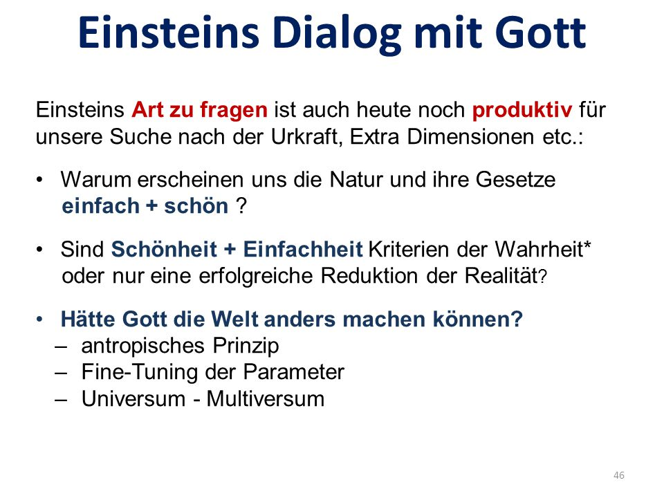Einsteins Dialog mit Gott