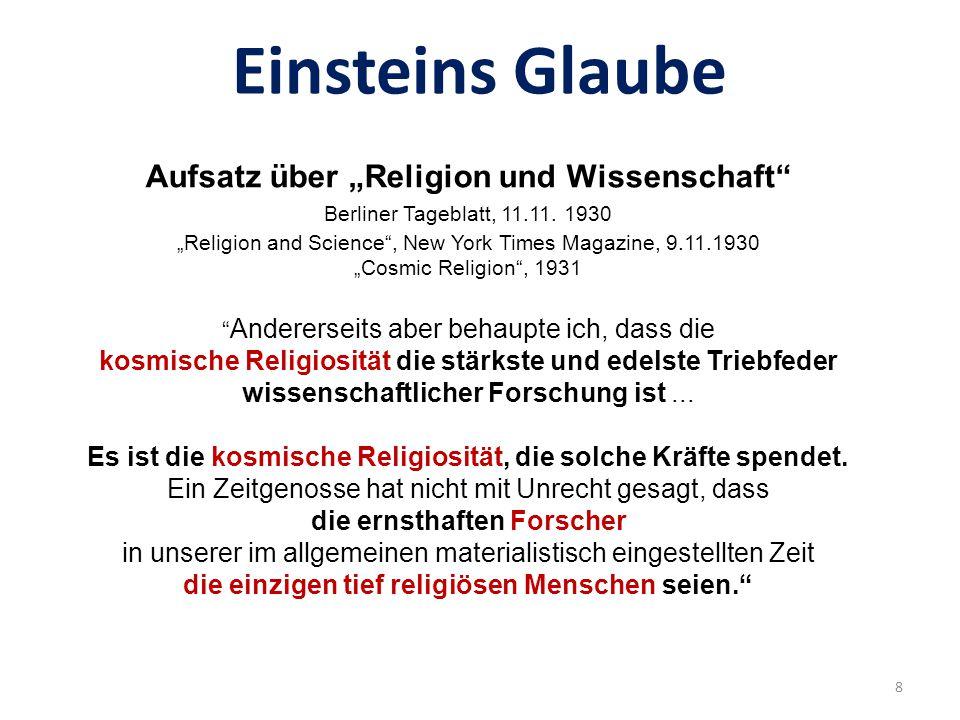 """Aufsatz über """"Religion und Wissenschaft"""