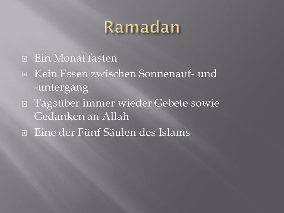 Ramadan Ein Monat fasten Kein Essen zwischen Sonnenauf- und -untergang