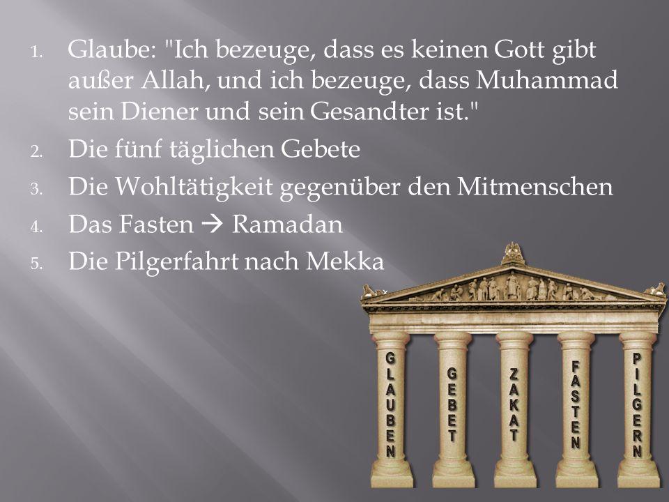 Glaube: Ich bezeuge, dass es keinen Gott gibt außer Allah, und ich bezeuge, dass Muhammad sein Diener und sein Gesandter ist.