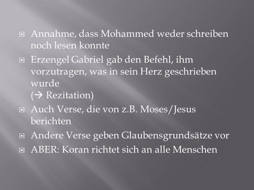 Annahme, dass Mohammed weder schreiben noch lesen konnte
