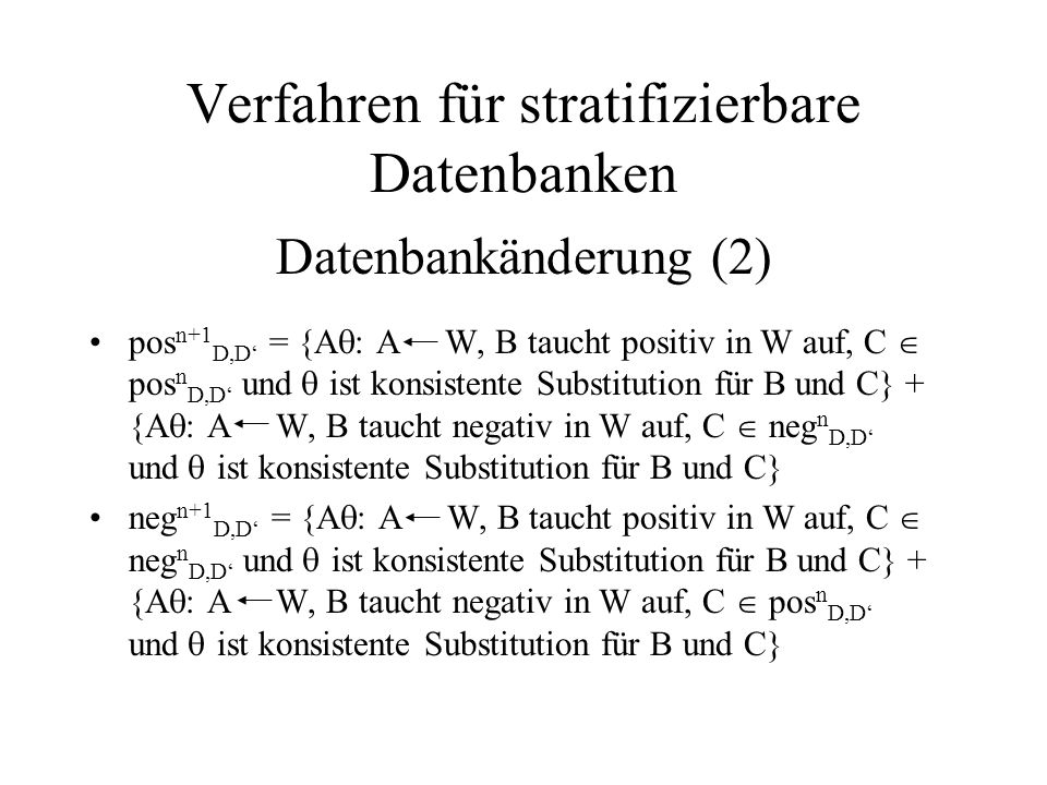 Verfahren für stratifizierbare Datenbanken