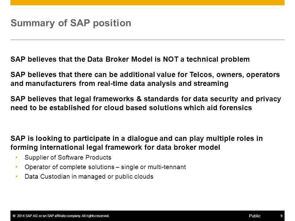 Summary of SAP position