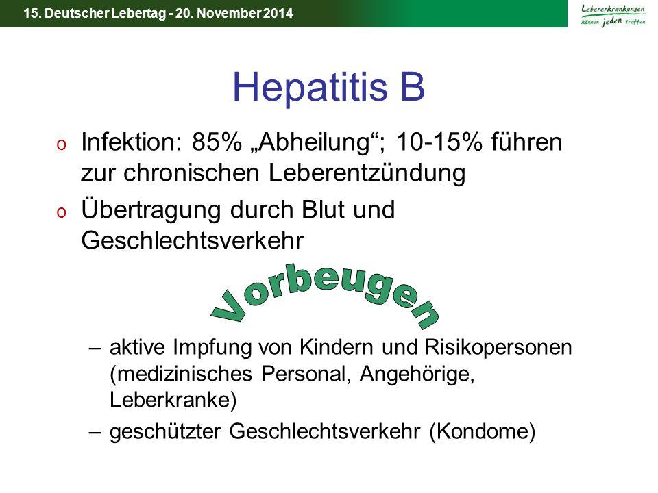 """Hepatitis B Infektion: 85% """"Abheilung ; 10-15% führen zur chronischen Leberentzündung. Übertragung durch Blut und Geschlechtsverkehr."""