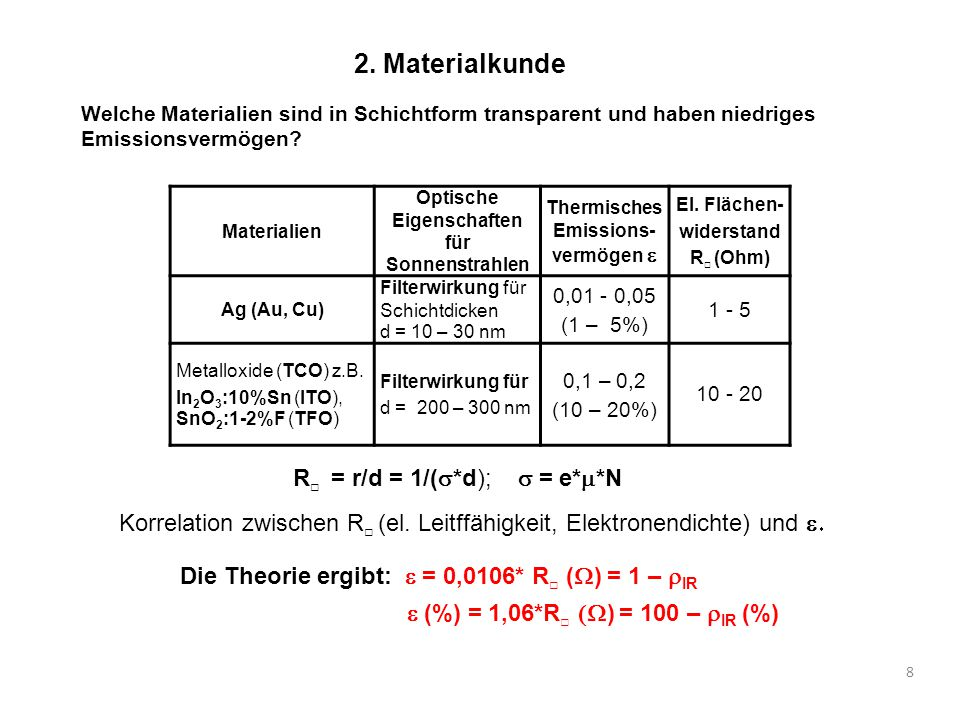 2. Materialkunde R□ = r/d = 1/(s*d); s = e*m*N