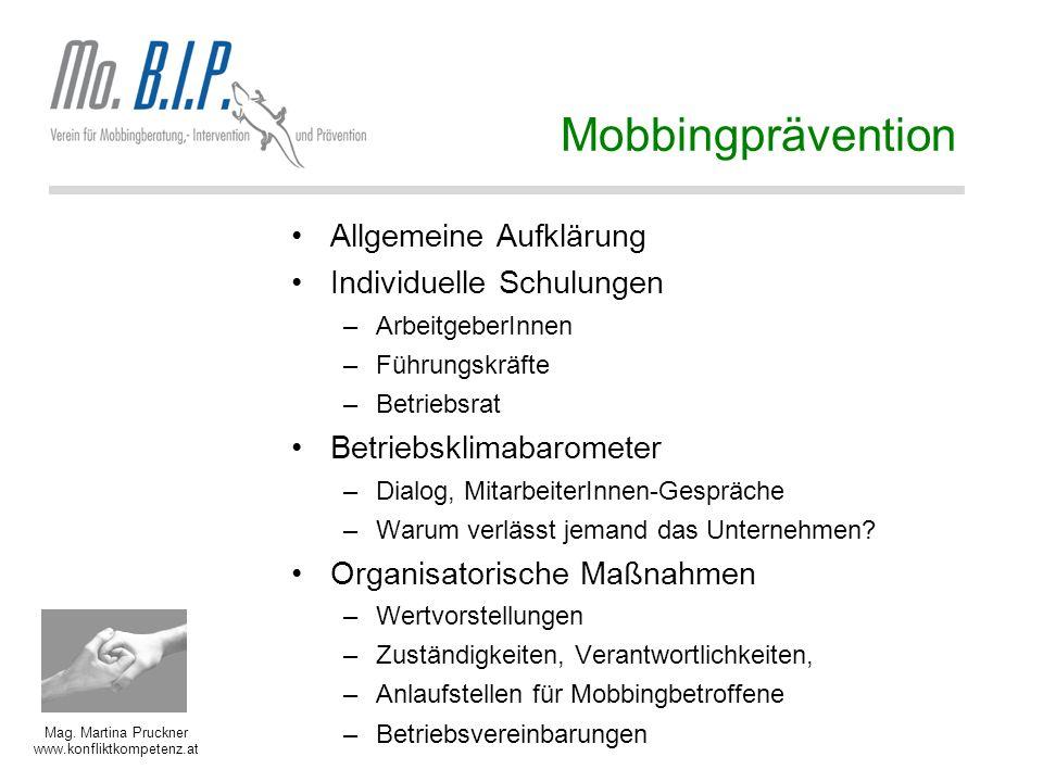 Mobbingprävention Allgemeine Aufklärung Individuelle Schulungen