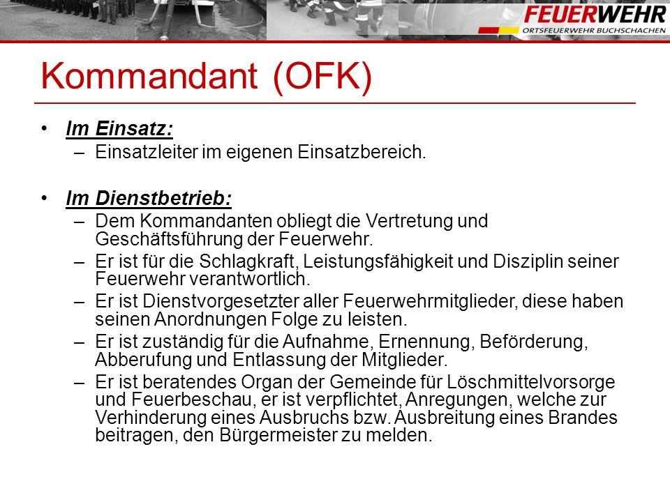 Kommandant (OFK) Im Einsatz: Im Dienstbetrieb:
